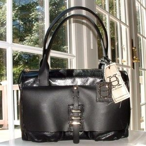 JOY GRYSON BLACK OLIVIA HARRIS LEATHER BAG NWT